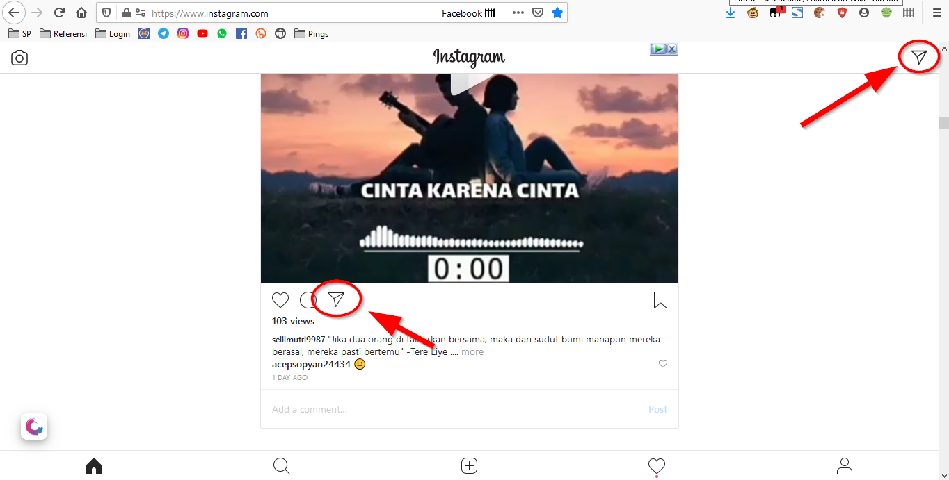 cara kirim direct message instagram via komputer